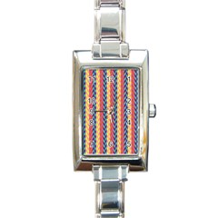 Colorful Chevron Retro Pattern Rectangle Italian Charm Watch