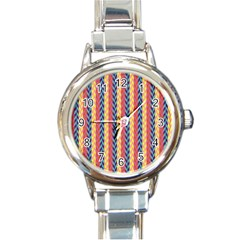 Colorful Chevron Retro Pattern Round Italian Charm Watch