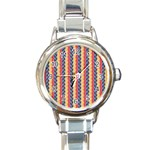 Colorful Chevron Retro Pattern Round Italian Charm Watch Front