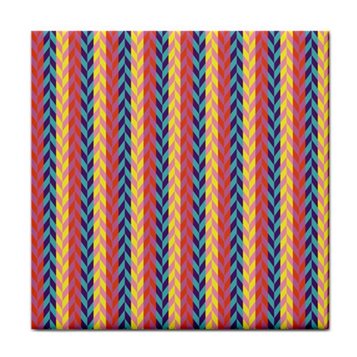Colorful Chevron Retro Pattern Tile Coasters