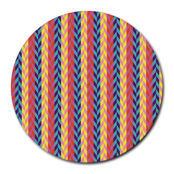 Colorful Chevron Retro Pattern Round Mousepads