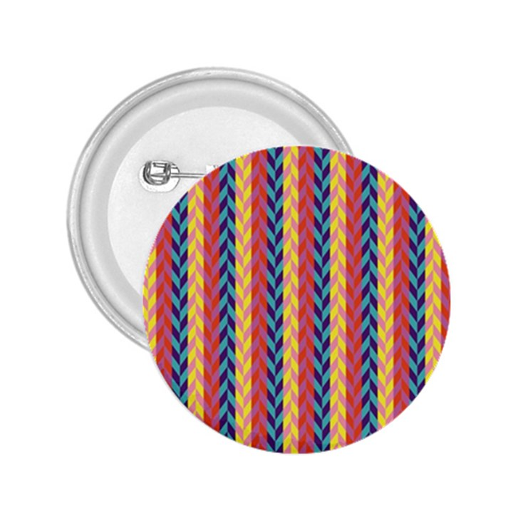 Colorful Chevron Retro Pattern 2.25  Buttons