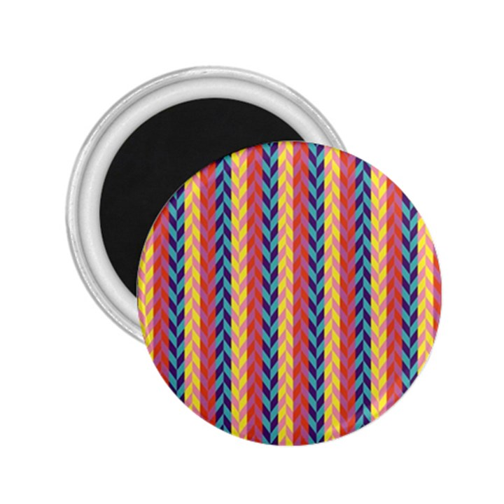 Colorful Chevron Retro Pattern 2.25  Magnets