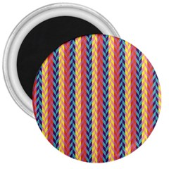 Colorful Chevron Retro Pattern 3  Magnets