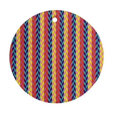 Colorful Chevron Retro Pattern Ornament (Round)
