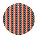 Colorful Chevron Retro Pattern Ornament (Round)  Front