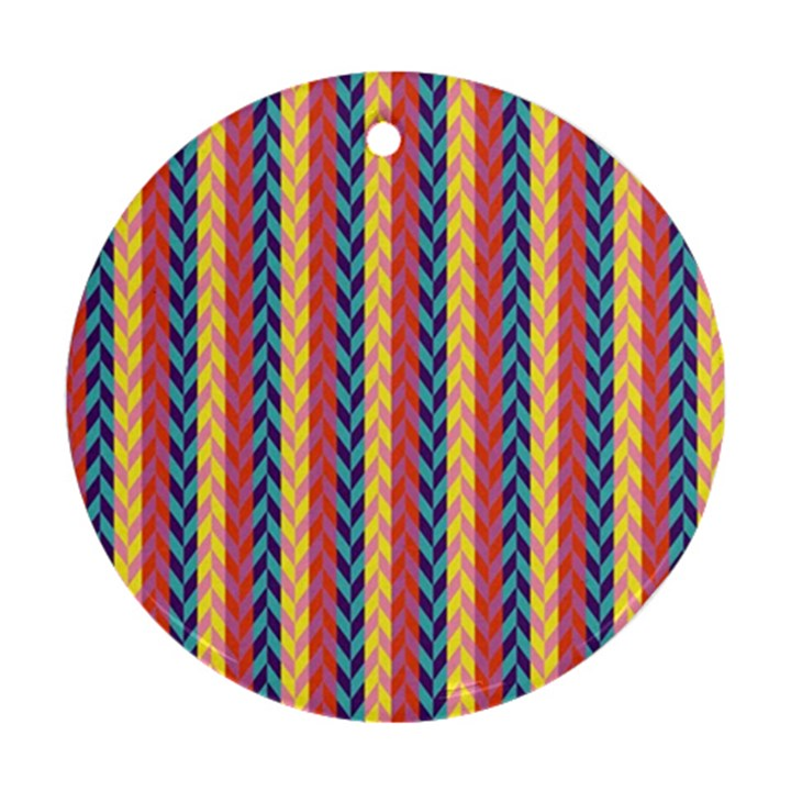 Colorful Chevron Retro Pattern Ornament (Round)