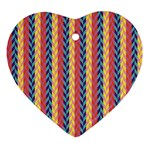 Colorful Chevron Retro Pattern Ornament (Heart)  Front