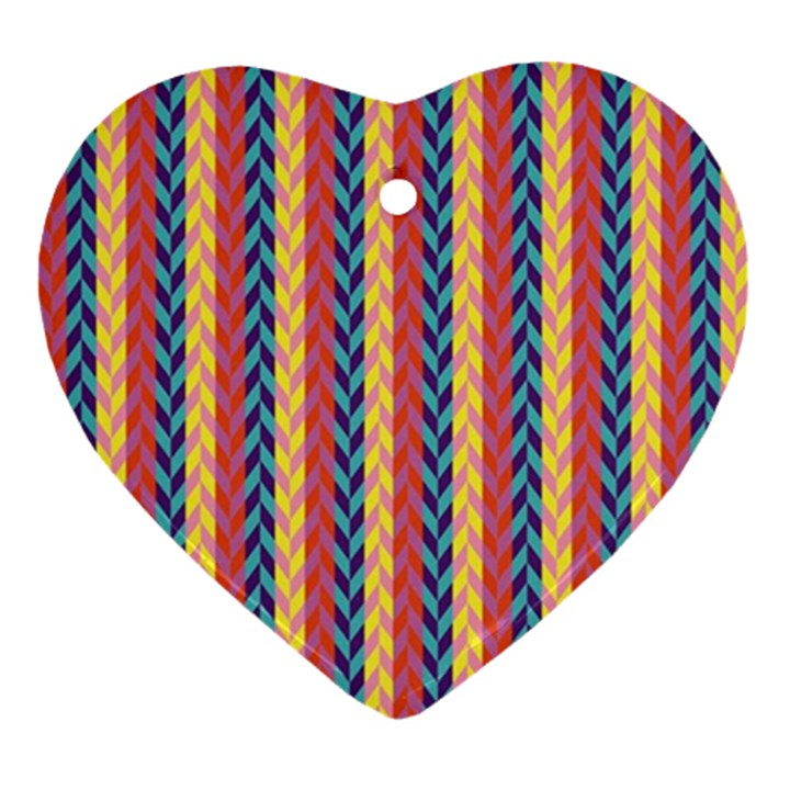 Colorful Chevron Retro Pattern Ornament (Heart)