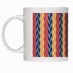 Colorful Chevron Retro Pattern White Mugs
