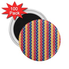 Colorful Chevron Retro Pattern 2.25  Magnets (100 pack)