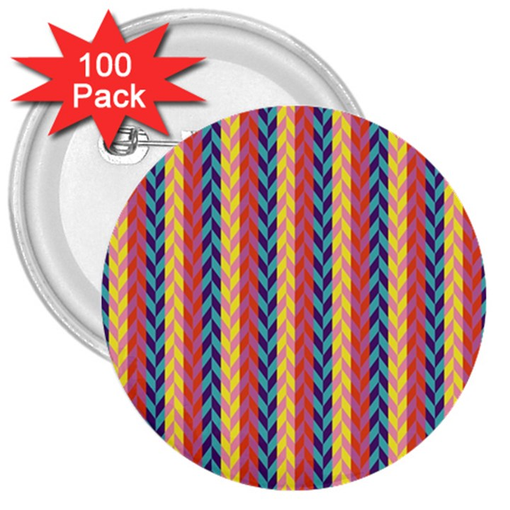 Colorful Chevron Retro Pattern 3  Buttons (100 pack)