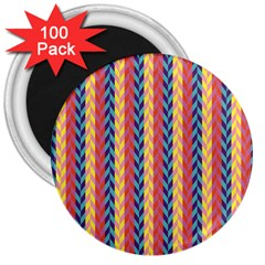 Colorful Chevron Retro Pattern 3  Magnets (100 Pack)