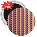 Colorful Chevron Retro Pattern 3  Magnets (100 pack) Front