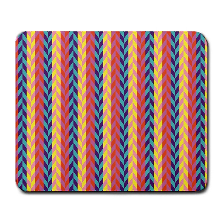 Colorful Chevron Retro Pattern Large Mousepads