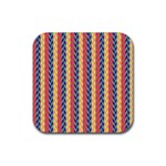 Colorful Chevron Retro Pattern Rubber Coaster (Square)  Front