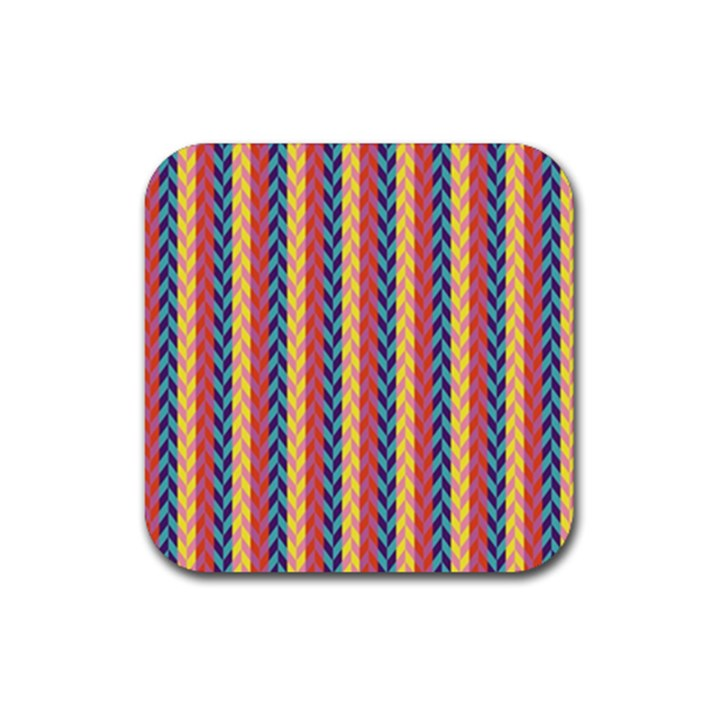 Colorful Chevron Retro Pattern Rubber Coaster (Square)