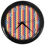 Colorful Chevron Retro Pattern Wall Clocks (Black) Front