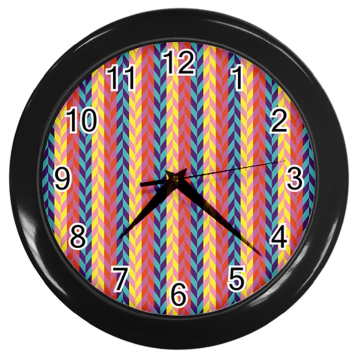 Colorful Chevron Retro Pattern Wall Clocks (Black)