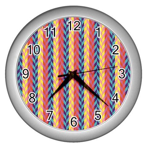 Colorful Chevron Retro Pattern Wall Clocks (Silver)