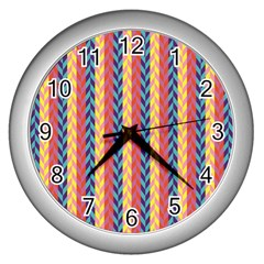 Colorful Chevron Retro Pattern Wall Clocks (Silver)