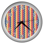 Colorful Chevron Retro Pattern Wall Clocks (Silver)  Front