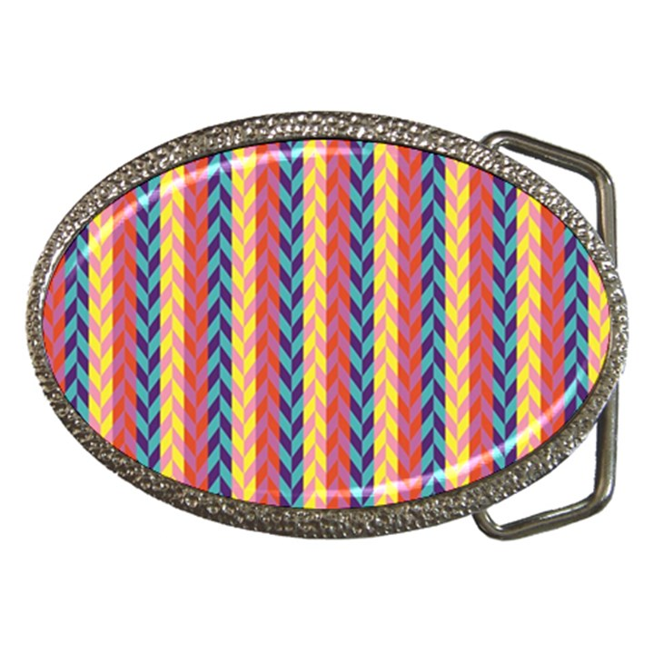 Colorful Chevron Retro Pattern Belt Buckles