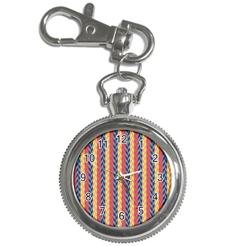 Colorful Chevron Retro Pattern Key Chain Watches