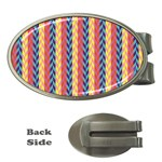 Colorful Chevron Retro Pattern Money Clips (Oval)  Front
