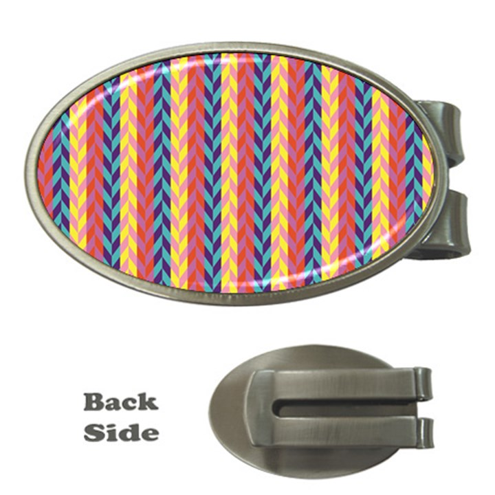 Colorful Chevron Retro Pattern Money Clips (Oval)