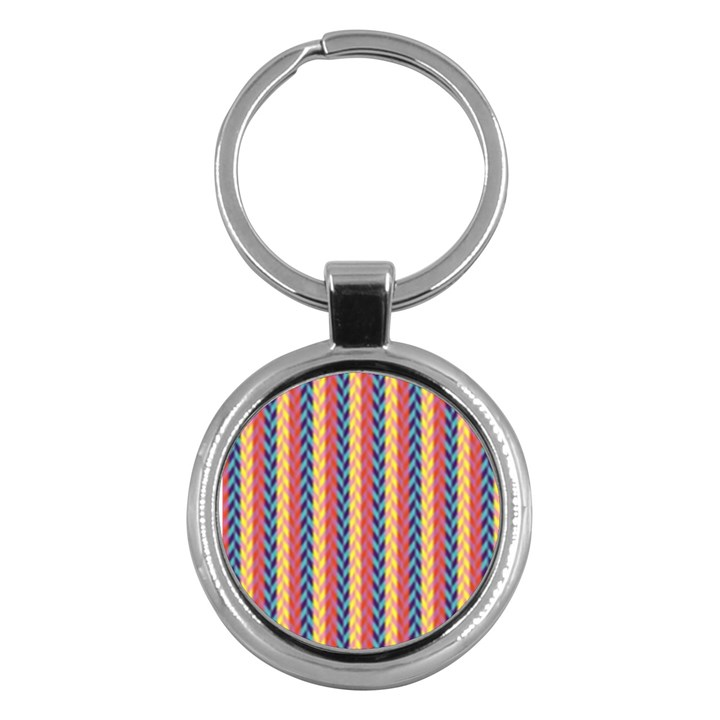 Colorful Chevron Retro Pattern Key Chains (Round)