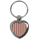 Colorful Chevron Retro Pattern Key Chains (Heart)  Front