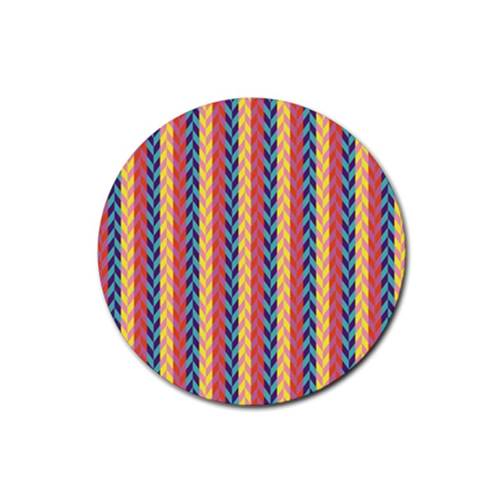 Colorful Chevron Retro Pattern Rubber Coaster (Round)
