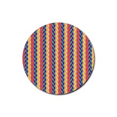 Colorful Chevron Retro Pattern Rubber Round Coaster (4 pack)