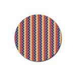 Colorful Chevron Retro Pattern Rubber Round Coaster (4 pack)  Front
