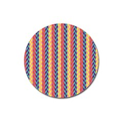 Colorful Chevron Retro Pattern Magnet 3  (Round)