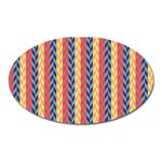 Colorful Chevron Retro Pattern Oval Magnet Front