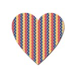 Colorful Chevron Retro Pattern Heart Magnet Front