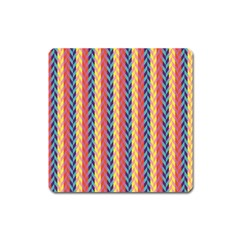 Colorful Chevron Retro Pattern Square Magnet