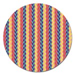 Colorful Chevron Retro Pattern Magnet 5  (Round) Front