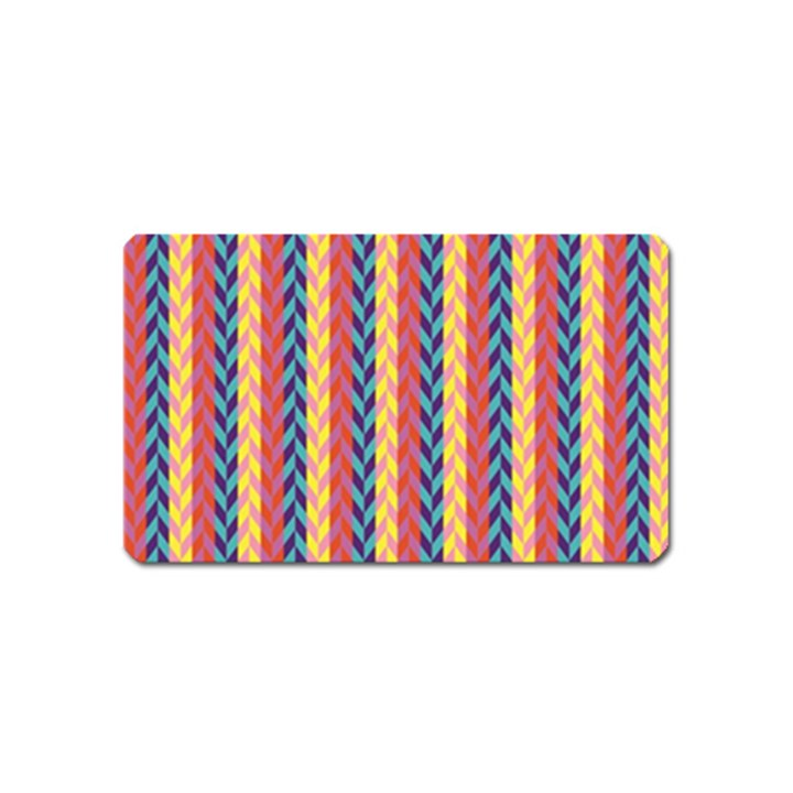 Colorful Chevron Retro Pattern Magnet (Name Card)