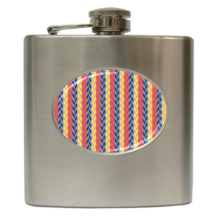 Colorful Chevron Retro Pattern Hip Flask (6 oz)