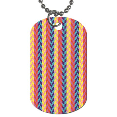 Colorful Chevron Retro Pattern Dog Tag (Two Sides)