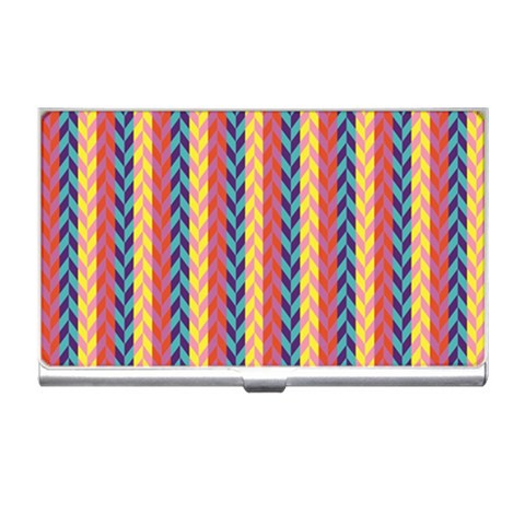 Colorful Chevron Retro Pattern Business Card Holders