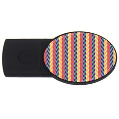 Colorful Chevron Retro Pattern Usb Flash Drive Oval (2 Gb)