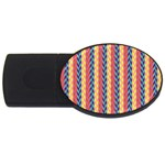 Colorful Chevron Retro Pattern USB Flash Drive Oval (1 GB)  Front