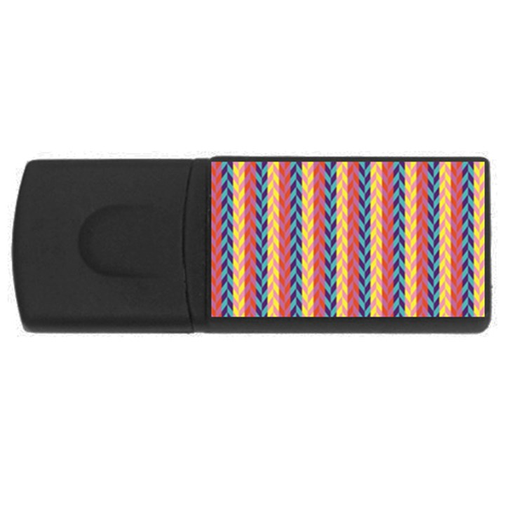 Colorful Chevron Retro Pattern USB Flash Drive Rectangular (2 GB)