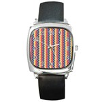 Colorful Chevron Retro Pattern Square Metal Watch Front