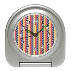 Colorful Chevron Retro Pattern Travel Alarm Clocks