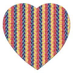 Colorful Chevron Retro Pattern Jigsaw Puzzle (Heart)